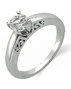 14K Scroll Cathedral Solitaire Ring