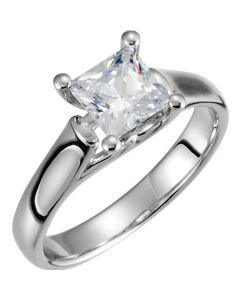 14K White Princess Woven Engagement Solitaire