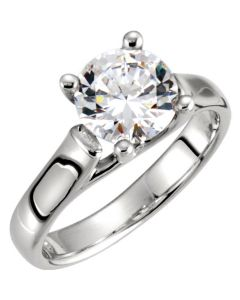 14K White 4.1mm Woven Solitaire Engagement Ring