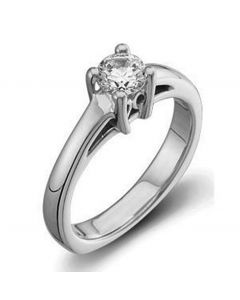 Platinum Cathedral Solitaire with Square Shank