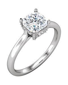 Platinum Cushion Solitaire Engagement  Ring