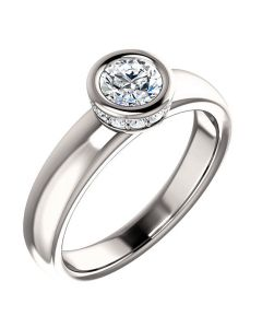 14K White 6.5mm Round Bezel-Styled Engagement Ring