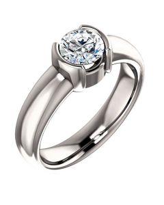 14K White 6mm Round Engagement Ring