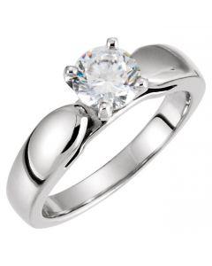 14K White 6mm Engagement Ring
