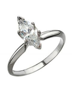 18K Marquise 6-Prong V-End Heavy Shank Solitaire Ring