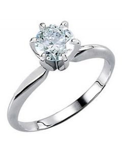 14K Round Pre-Notched 6-Prong Solitaire Ring