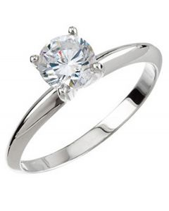 Platinum Round 4-Prong Tall & Heavy Solitaire Ring