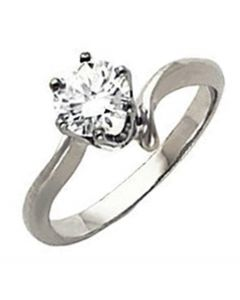 14K 6-Prong Swirl Shank Solitaire Engagement Ring