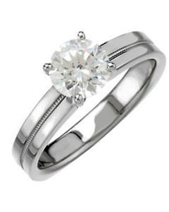14K Square Shank Four-Prong Solitaire Engagement Ring