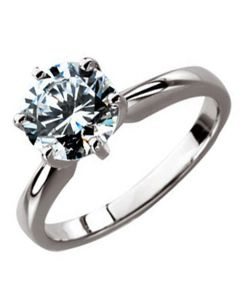 14K X1 White 6-Prong Solitaire Ring