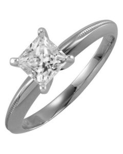 14K 4-prong Princess Solitaire with Engraved Shank
