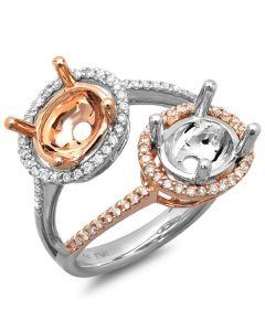 14K White & Rose Gold Engagement Ring