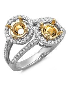14K White & Yellow Gold Engagement Ring